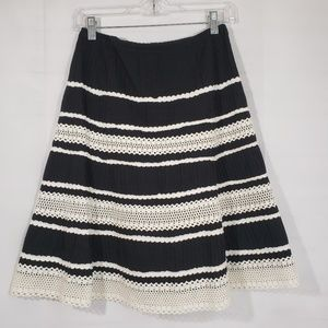 Talbots A Line Black White Striped Pleated Skirt